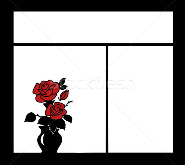 vector silhouette of the flower on window Stock photo © basel101658