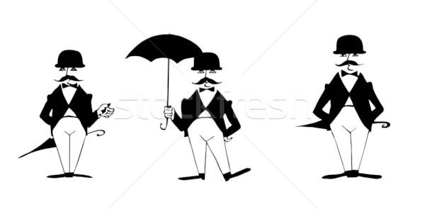 drawing of the gentleman on white background Stock photo © basel101658
