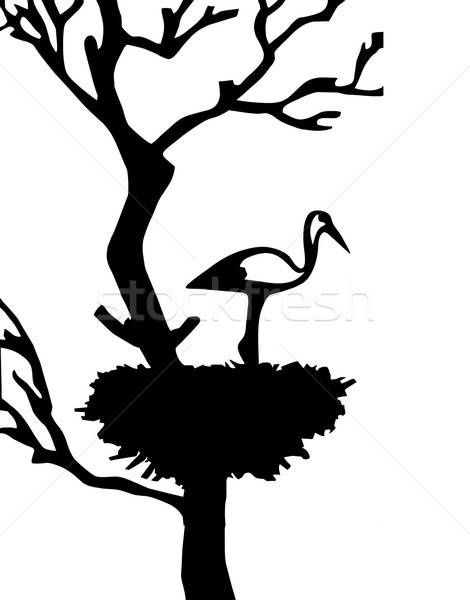 Vetor desenho guindaste árvore edifício natureza Foto stock © basel101658