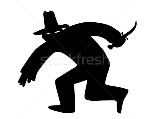 Vettore disegno silhouette ladro maschera bianco Foto d'archivio © basel101658