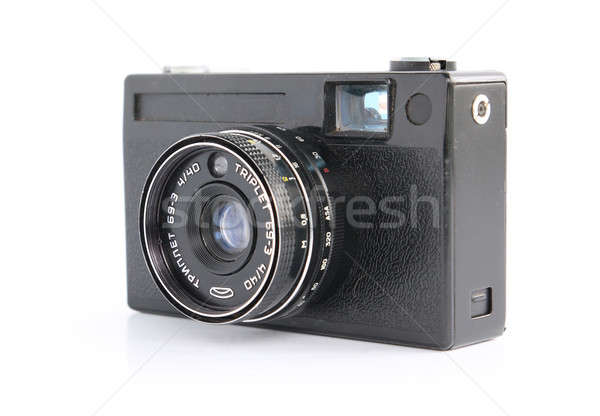 Retro câmera branco fundo preto estúdio Foto stock © basel101658