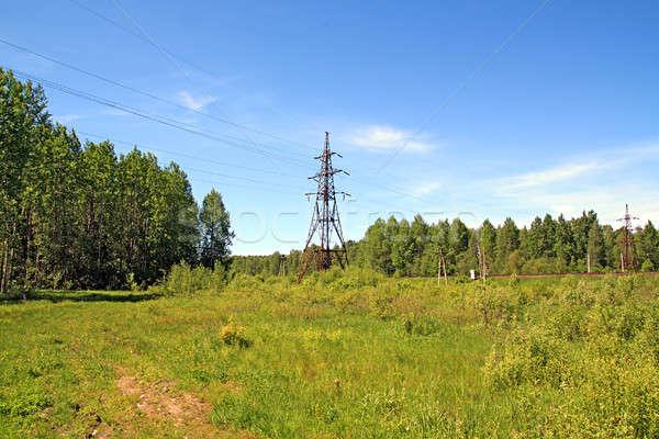 Elektrische Pol Bau Metall Bereich Netzwerk Stock foto © basel101658