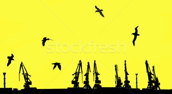 Vector tekening silhouet werk zee ontwerp Stockfoto © basel101658