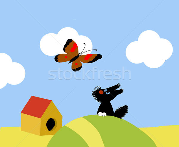 illustration of the small dog and butterflies Stock photo © basel101658