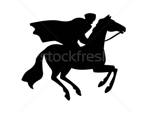 Vektor rajz sziluett férfi sport ló Stock fotó © basel101658