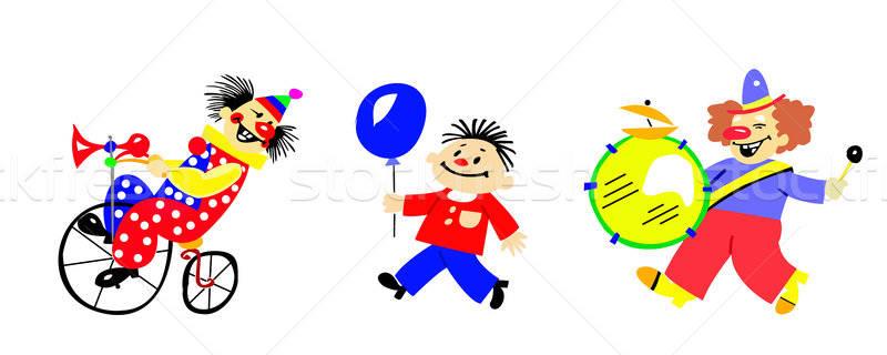 Wektora rysunek sylwetka clown biały dziecko Zdjęcia stock © basel101658