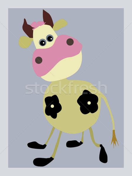 Vecteur dessin portrait vache gris papier Photo stock © basel101658