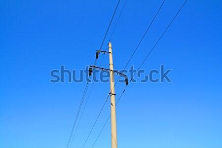 электрических полюс строительство знак кабеля силуэта Сток-фото © basel101658