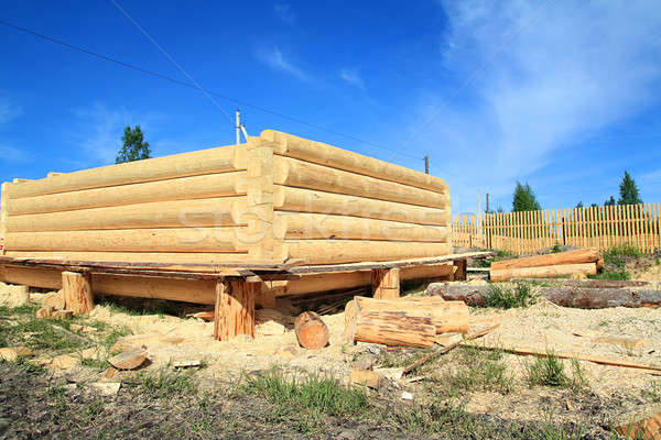 Stock photo: construction of the new wooden building