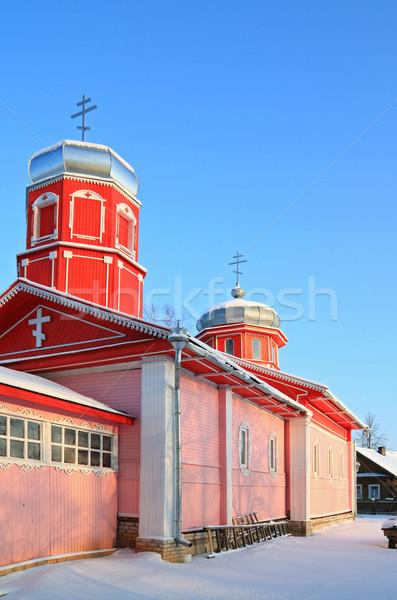 Rural ortodoxo iglesia cielo paisaje cruz Foto stock © basel101658
