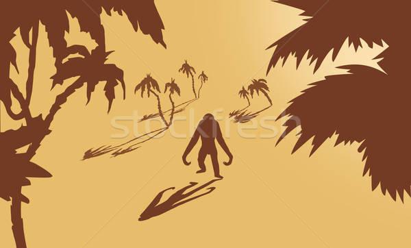 Vektor rajz gorilla pálmafák citromsárga naplemente Stock fotó © basel101658