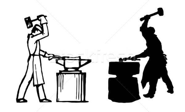 Vektor Zeichnung Silhouette Hand Mann Arbeit Stock foto © basel101658