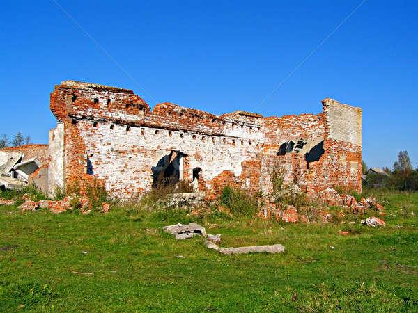 Destruído tijolo edifício textura laranja vermelho Foto stock © basel101658