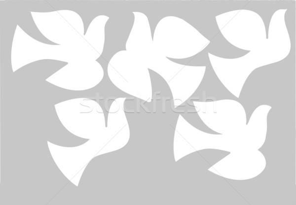ストックフォト: ベクトル · 図面 · 鳩 · イースター · デザイン · 背景
