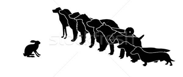 Wektora rysunek sylwetka psów królik Zdjęcia stock © basel101658