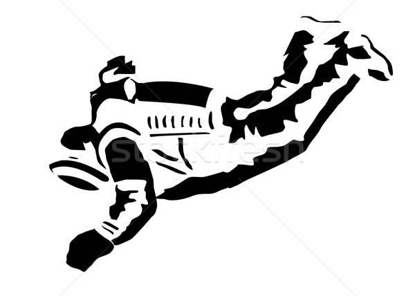 Vector tekening silhouet zwarte man Stockfoto © basel101658