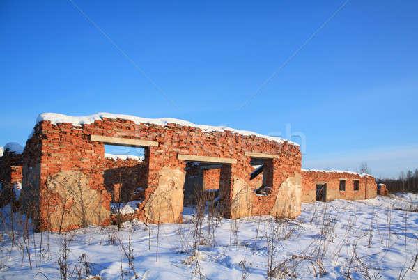 старые разрушенный здании стены краской черный Сток-фото © basel101658