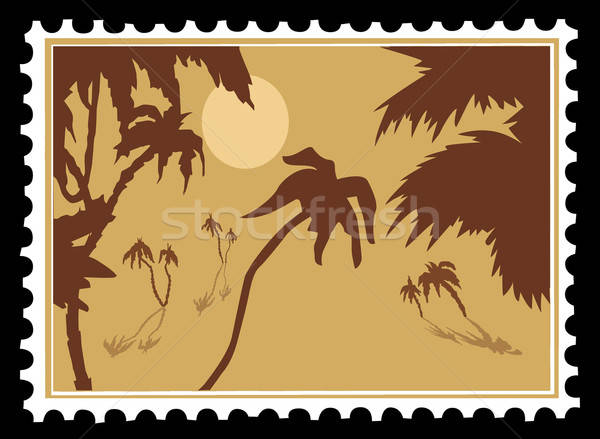 vector tropical landscape on postage stamps Stock photo © basel101658