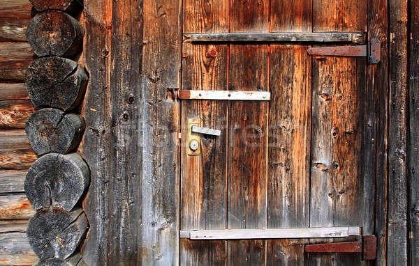 Grunge fa otthon háttér zár acél Stock fotó © basel101658