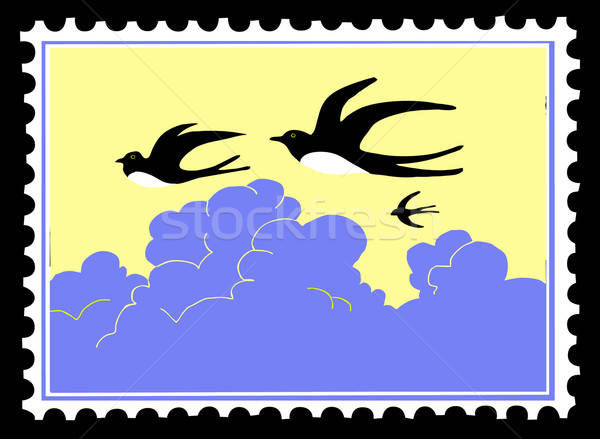 vector silhouette swallow on postage stamps Stock photo © basel101658