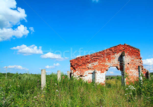 destroyed wall on field Stock photo © basel101658