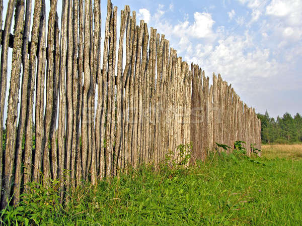 old fence on green field      Stock photo © basel101658