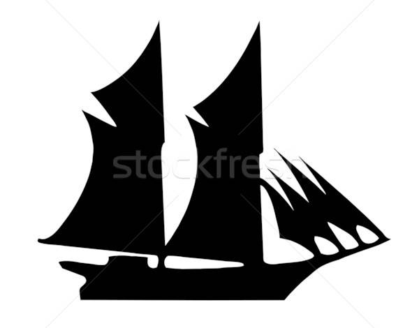 illustration of the old-time frigate on white background Stock photo © basel101658
