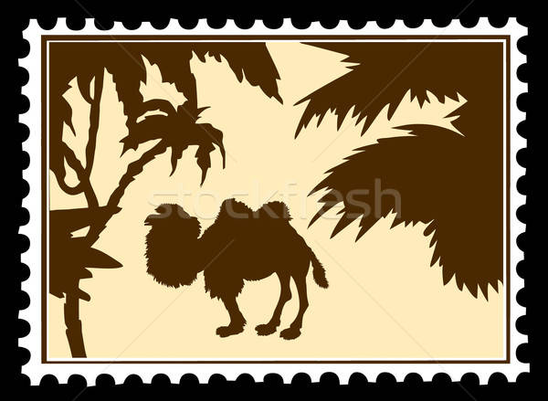 vector silhouette camel on postage stamps Stock photo © basel101658
