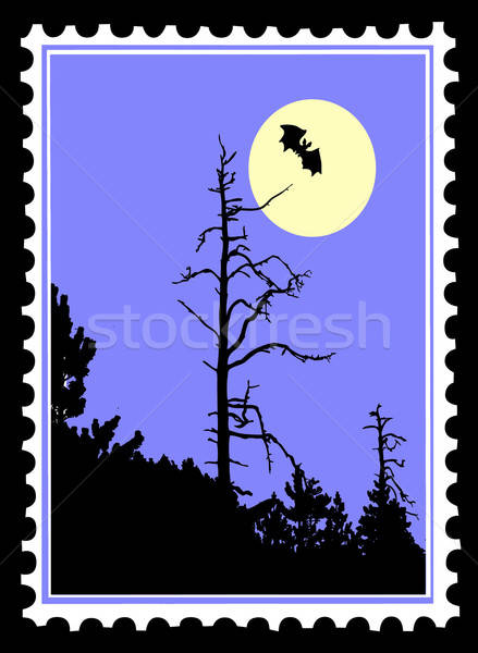 vector silhouette to bat on postage stamps Stock photo © basel101658
