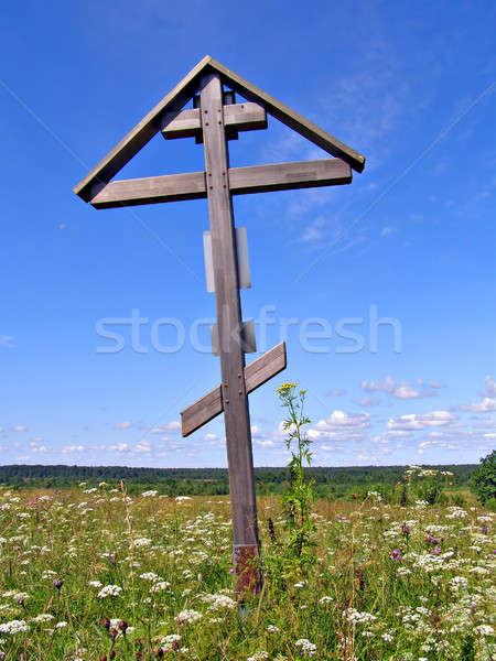 solitary cross on green field       Stock photo © basel101658