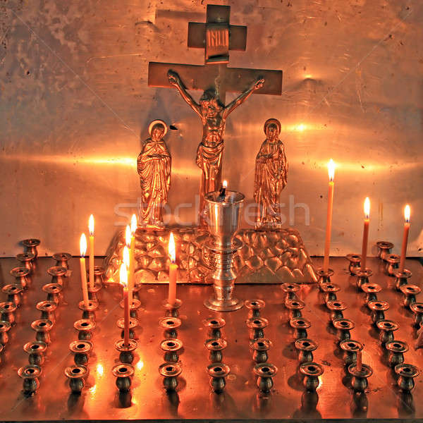 Stock photo: candles in christian church