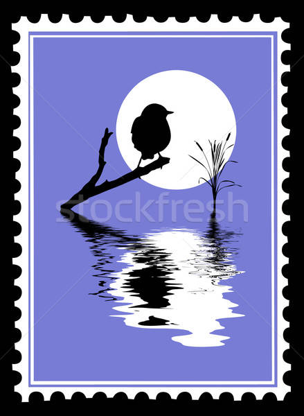 vector silhouette of the bird on postage stamps Stock photo © basel101658