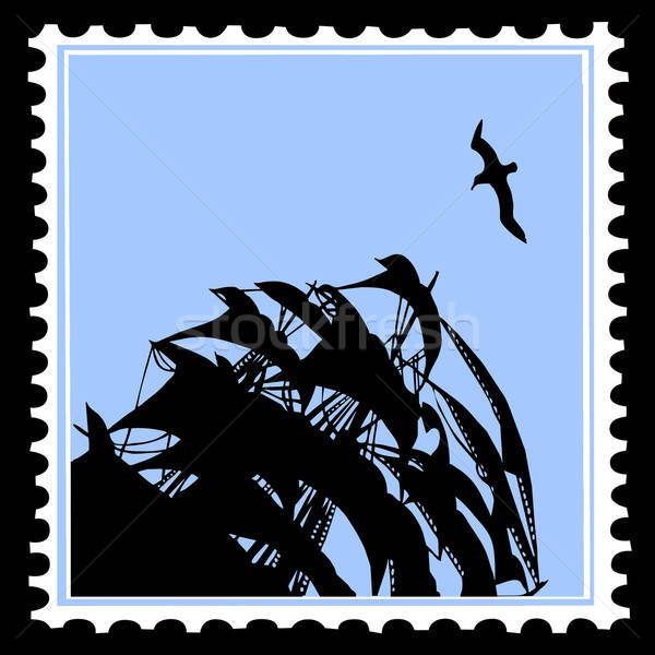 vector silhouette sailfish on postage stamp Stock photo © basel101658