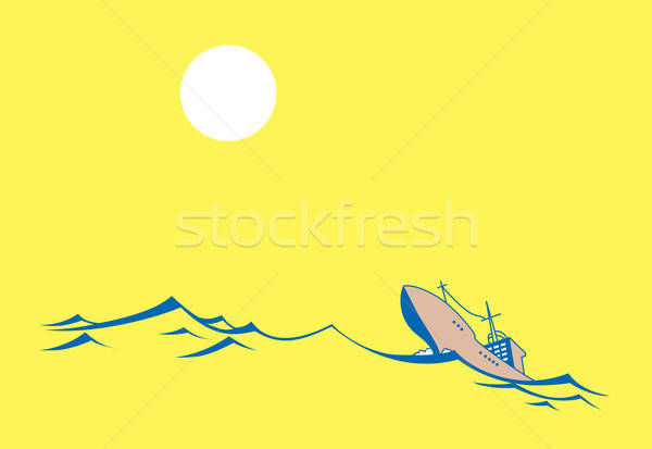 vector silhouette tanker on yellow background Stock photo © basel101658