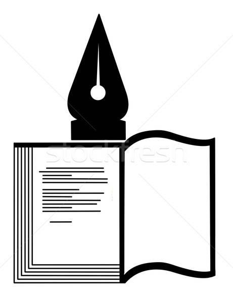 Stock fotó: Vektor · sziluett · könyv · fehér · iskola · toll