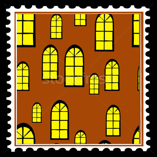 home window on postage stamps. vector Stock photo © basel101658