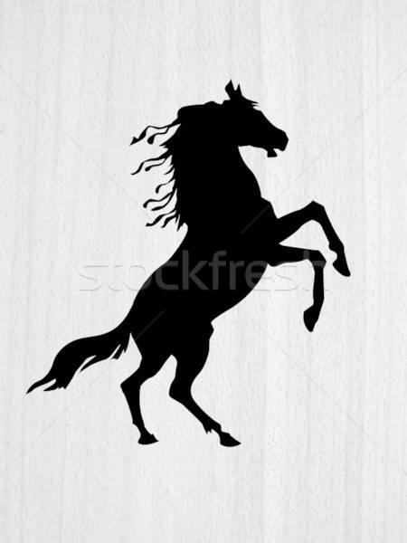 Vector dibujo silueta madera forestales caballo Foto stock © basel101658