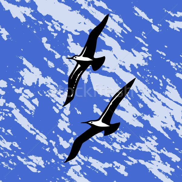 vector silhouette swallow on abstract background Stock photo © basel101658