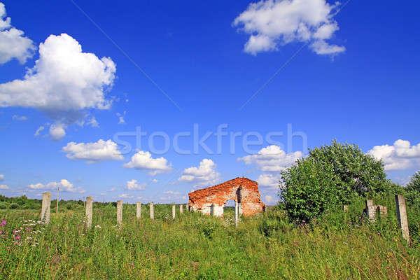 Stock fotó: Elpusztított · épület · tavasz · fal · festék · fekete