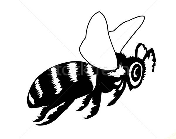 Line Art Bee : Vector silhouette of the bee on white background