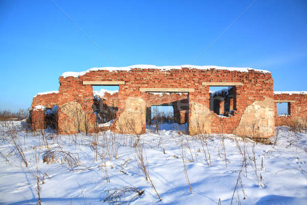 Vernietigd baksteen bouw huis gebouw muur Stockfoto © basel101658