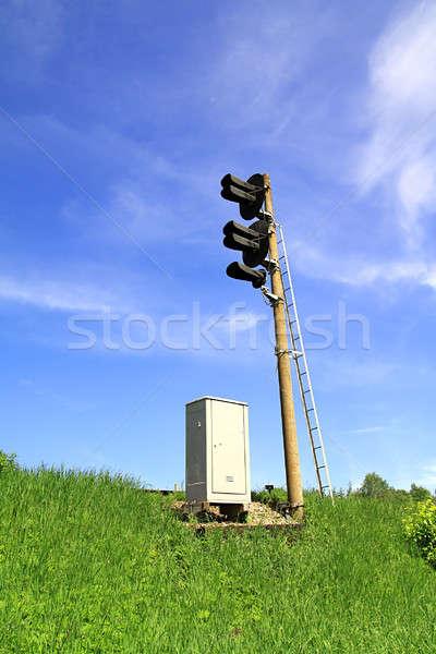 semaphore on railway Stock photo © basel101658