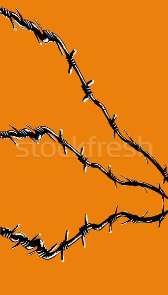 Vektör çizim dikenli tel turuncu çerçeve savaş Stok fotoğraf © basel101658