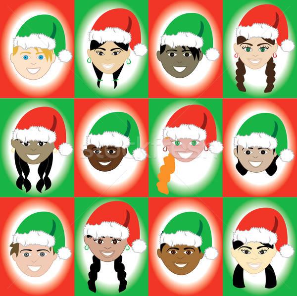Christmas hoed kid gezichten 12 kinderen Stockfoto © BasheeraDesigns