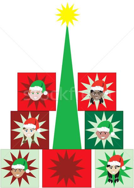 Christmas kid aanwezig boom kinderen gezichten Stockfoto © BasheeraDesigns