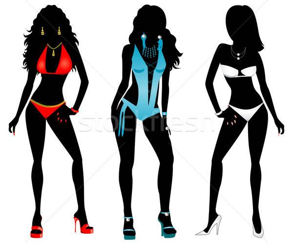 Zwempak silhouetten drie verschillend silhouet vrouwen Stockfoto © BasheeraDesigns