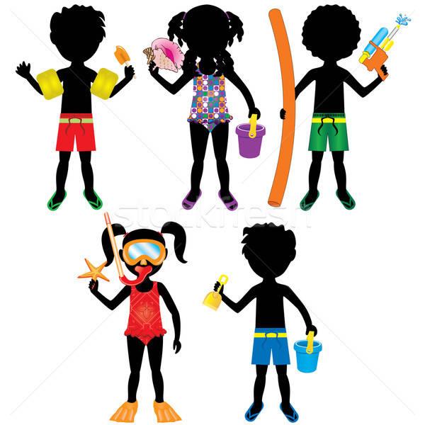 Kids Swimsuit Silhouettes Stock photo © BasheeraDesigns