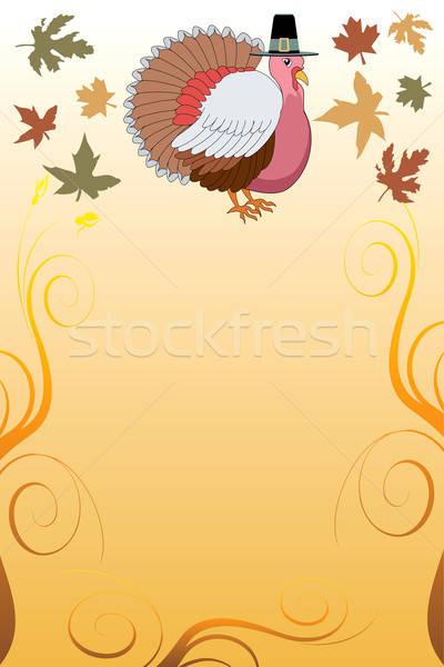 Dankzegging Turkije pelgrim oogst groenten bloemen Stockfoto © BasheeraDesigns