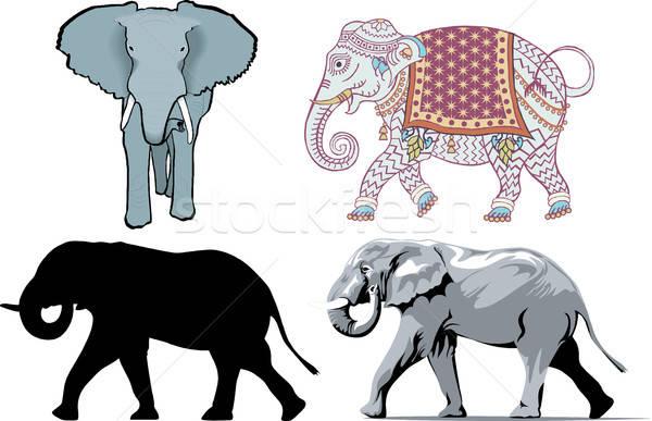 Olifanten verschillend stijlen abstract dieren zwarte Stockfoto © BasheeraDesigns