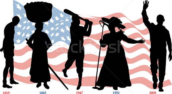 Fekete történelem idővonal hónap amerikai zászló sportok Stock fotó © BasheeraDesigns